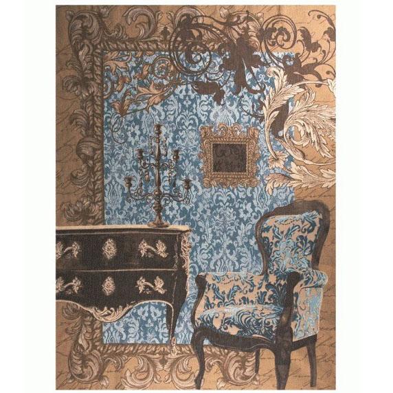 "Art De Lys, Ref.9246b; Baroque, blue background<br>200 x 150 cm - 78"" x 59"""