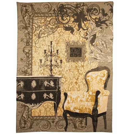 "Art De Lys, Ref.9246j; Baroque ,yellow background<br>200 x 150 cm - 78"" x 59"""
