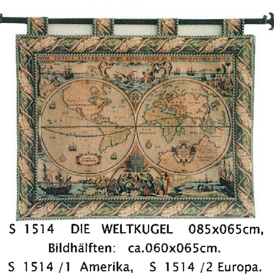 Luka, S1514 Die Weltkugel <br> Гобелен Карта полушарий <br>размер 085х065