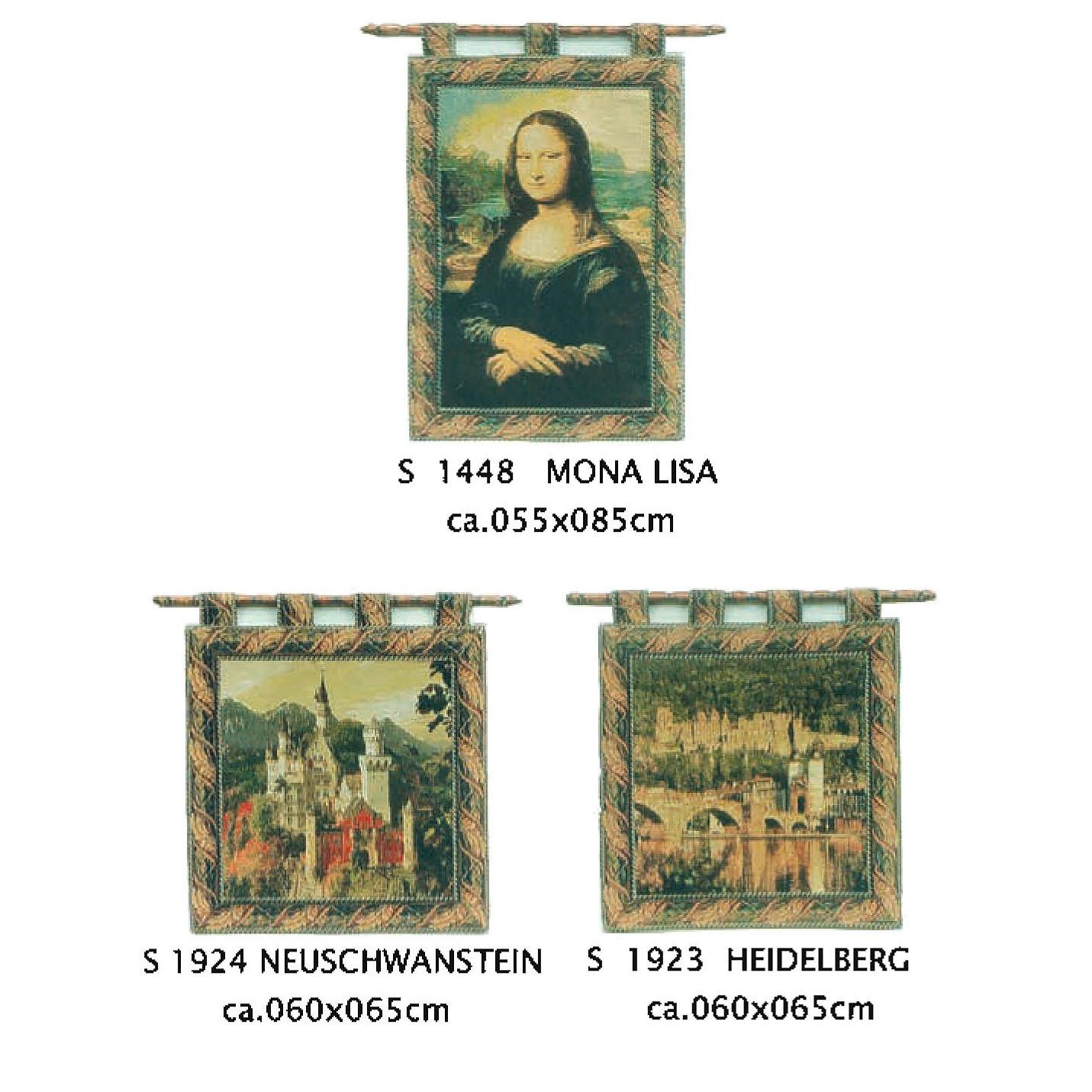 Luka, S1448 Mona Lisa <br> Гобелен Мона Лиза <br>размер 055х085, S1924 Neuscwanstein размер 060х065, S1923 Heidelberg размер 060х065