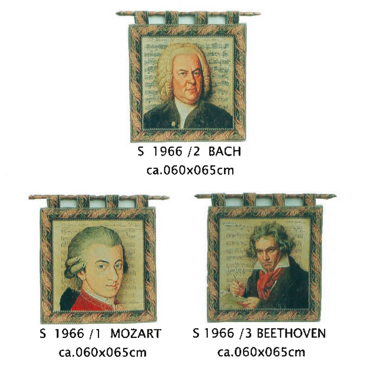 Luka, S1966 х1 Mozart , х2 Bach, х3 Beethoven <br> Гобелен Моцарт, Бах, Бетховен <br>размер 060х065
