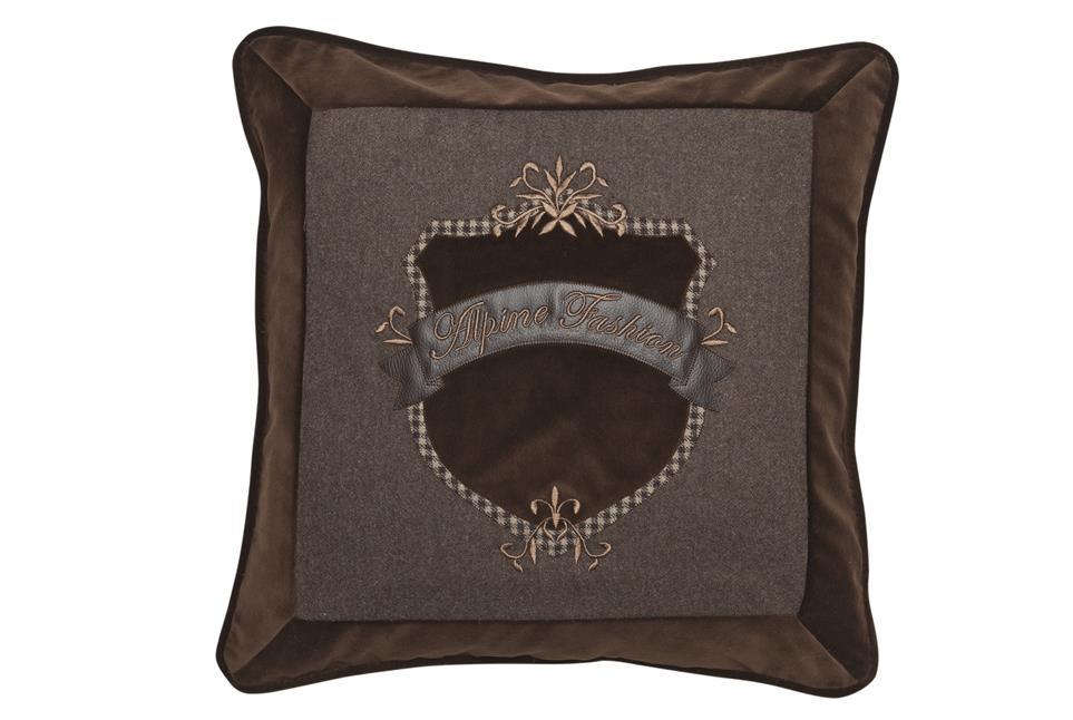 Подушка Fine, Collection: Fashion<BR>Material: 78 % CO /16 % WO / 6 % Leather (Stickgarn / Embr. yarn: 100 % CV)<BR>Size: 50 x 50 cm<BR>Артикул: ALPINE-FASHION 149